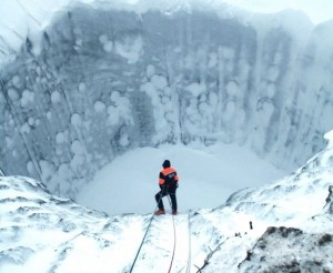 Siberian sinkhole in winter